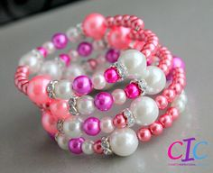 Key to my Heart pink memory wire bracelet by CIC on Etsy, $35.00