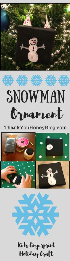 Check out this adorable kids fingerprint Snowman Ornament craft! Click through & PIN IT to read later & Follow + Subscribe. Christmas, Holidays, Gifts, Homemade, Snowmen Ornament, Fingerprints, Kids Craft, Kids Activity, Holiday Craft, DIY Kids