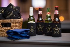 ann whittington events elegant rehearsal dinner southern style country club custom drink koozie black with texas star and initials