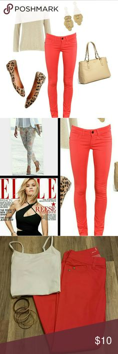 ELLE Skinny Jeans ELLE Skinny Jeans Size: 2, Color: Coral -jeans have stretch to them 74%Cotton/24%Polyester/2%Spandex Great Condition -some small piling in areas Pic #2 & #8 show fit of ELLE skinny jeans Elle Jeans Skinny