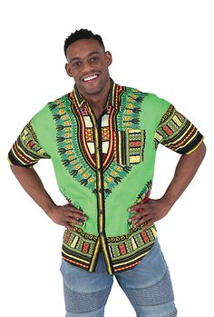 Traditional Mens African Short-Sleeve Dress Shirt - Celebrate Africa with a handmade traditional African men's shirt.  This shirt comes in green, red, blue, orange, and many other colors.  It has intricate African pattern around the sleeves, chest, and bottom.  Perfect for date night or a dressy casual event.  Celebrate Black History Month with a traditional African shirt!  #blackhistorymonth #africa #african #africanfashion #mensfashion #fashion #wearit