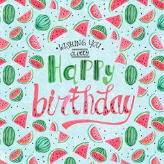 Een trendy verjaardagskaart met allemaal watermeloenen, verkrijgbaar bij #kaartje2go voor € 1,99