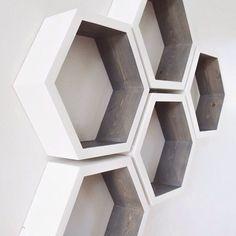 Hexagon Shelves Honeycomb Shelves Geometric by westpinecompany