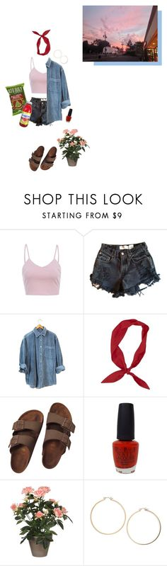 """snack run"" by sensitive-pajaro ❤ liked on Polyvore featuring AX Paris, Levi's, Birkenstock, OPI, FRUIT and Topshop"