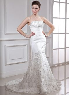 Trumpet/Mermaid Strapless Court Train Organza Satin Wedding Dress With Embroidery Beading Sequins (002000338) http://www.dressdepot.com/Trumpet-Mermaid-Strapless-Court-Train-Organza-Satin-Wedding-Dress-With-Embroidery-Beading-Sequins-002000338-g338 Wedding Dress Wedding Dresses #WeddingDress #WeddingDresses