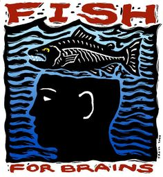 """Fish For Brains"", scratchboard with digital color, 4"" x 4"", 2000, © Ray Troll"