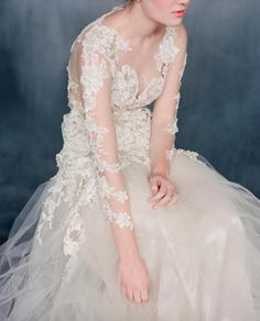 The most beautiful lace and sheer wedding gown by dress designer Emily Riggs | Wedding Sparrow favorites #fineartcuration member