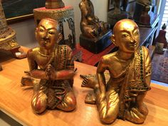 A pair of wooden monks. 19th cent. Burma.