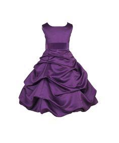 Purple Flower Girl Dress tie sash pageant wedding bridal recital children bridesmaid toddler childs 37 sash sizes 2 4 6 8 10 12 14 16 #806s