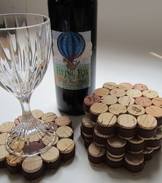 Honeycomb Wine Cork CoasterWrapped in Brown by LizzieJoeDesigns, $17.00. I am going to have to make these.  So cute.