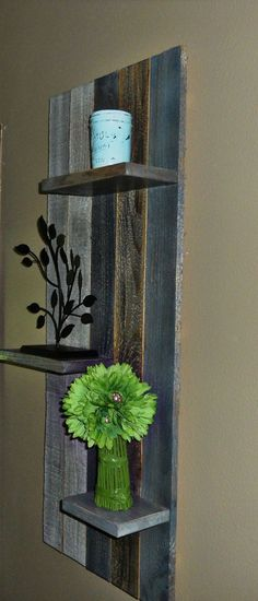 Rustic Barn Board Hanging Shelf