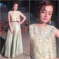 Dia Mirza in a vintage pair of separates by Anita Dongre. A high up-do with statement jhumkas from Pink City by Anita Dongre rounded off her look. She looks stunning!!