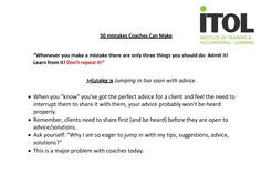 Mistake No.3 from our 50 Mistakes Coaches Can Make