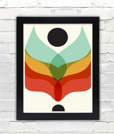 Mid Century Modern Flower Print // Gifts under 25 par FatEyeDesign, $23.00