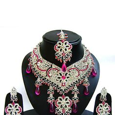 #Pink and #White Stone Studded #Necklace Set Online Shopping: JNC2739