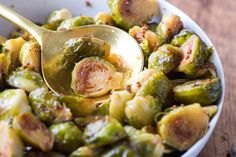Honey-Mustard Brussels Sprouts ||  Brussels sprouts, trimmed and halved through the stem 1/4 cup olive oil 1 teaspoon kosher salt 1/4 teaspoon freshly ground black pepper 2 tablespoons apple cider vinegar 2 tablespoons honey 2 tablespoons whole-grain mustard 2 teaspoons tamari or soy sauce