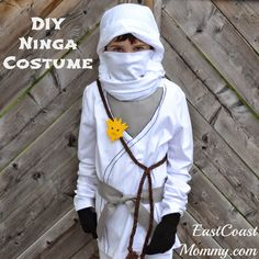"This year, for Halloween, my 7 year old son decided that he wanted to be the white ninja from LEGO Ninjago . I researched what ""Zane"". Diy Ninja Costume, Best Diy Halloween Costumes, Homemade Costumes, Halloween 2016, Halloween Ideas, Lego Ninjago, Ninja Party, Last Minute Costumes, Boy Costumes"