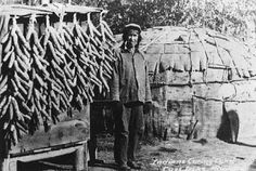 Chippewa Indian House-Drying Corn
