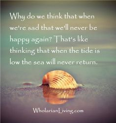 Why do we think that when we are sad, we'll never be happy again? That's like thinking that when the tide is low the sea will never return.