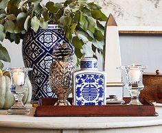Tablescape Collection with Pop of Blue & White via:onekingslane