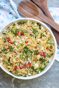 Orzo Salad with Roasted Red Peppers, Spinach, and Feta ~ https://www.fromvalerieskitchen.com