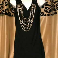 Jewelry Chain Shirt Lovely style shirt designed with detachable drapery style glitzy jewelry chains adds a glamour unique touch Tops Tank Tops