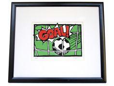 - a 3 colour football linoprint. Goals Football, Football Themes, Boys Football Bedroom, Bold Colors, Colours, Linoprint, Vintage Comics, Wood Print, Color Show
