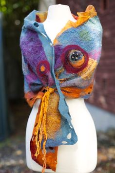 Nuno Felt Shawl African Daisy blue orange by BeverlyAshGilbert