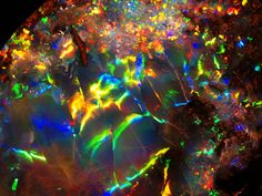 Opal is an amorphous form of silica related to quartz, a mineraloid form, not a mineral. Opal is the national gemstone of Australia, which produces of the world's supply Minerals And Gemstones, Crystals Minerals, Rocks And Minerals, Stones And Crystals, Gem Stones, Loose Gemstones, Gemstone List, Opal Gemstone, Cool Rocks