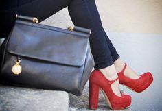 chunky red heels