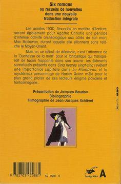 Les Intégrales du Masque - Agatha Christie - Volume 3 - Verso - Octobre 1991