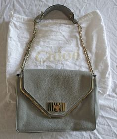 AUTHENTIC CHLOE SALLY GRAINED LEATHER SHOULDER BAG IN CLOUD  ~ #CHLOE #TotesShoppers