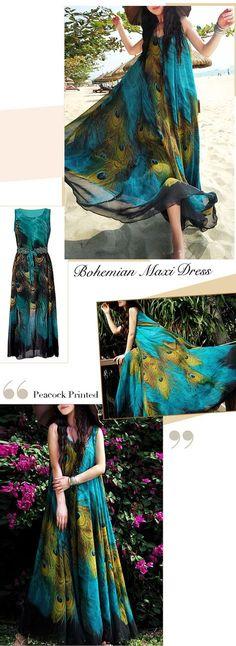 US$ 19.68 Gracila Bohemian Women Sleeveless O Neck Peacock Printed Maxi Dress