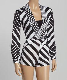 Look at this #zulilyfind! Black & White Stripe Surplice Romper #zulilyfinds