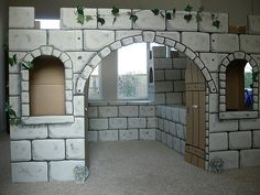 Cardboard Castle, Cardboard Crafts, Castle Party, Medieval Party, Trunk Or Treat, Thinking Day, Stage Set, Play Houses, Sunday School
