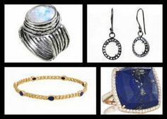 Moonstone and Lapis Choices for pairing with Radiant Orchid, Pantone's color of spring 2014. Available at Haute Jewels1