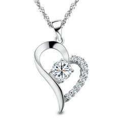 Heart and Diamond necklace Great for Gifts. High Polished, Silver Plated with highest quality cubic zirconia. Elegance without the guilt, just the way you want it.