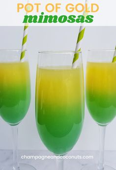 Our green and gold mimosas made with champagne, vodka, orange juice and blue curacao are delicious. They are especially perfect to serve for St. Patrick's Day, but they are truly a delight to serve year-round. Our twist on the classic mimosa is sure to be St Patrick's Day Cocktails, Cocktail And Mocktail, Cocktail Recipes, Green Cocktails, St Patty's Day Drinks, Daiquiri Cocktail, Vodka Cocktails, Easy Alcoholic Drinks, Fun Drinks
