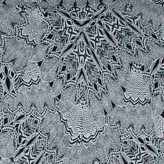Black and Whisper White Tribal Printed Stretch Cotton Sateen