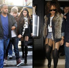 Selena Gomez and Rihanna in false garter suspender stockings. Love these! but they do look better on Selena.