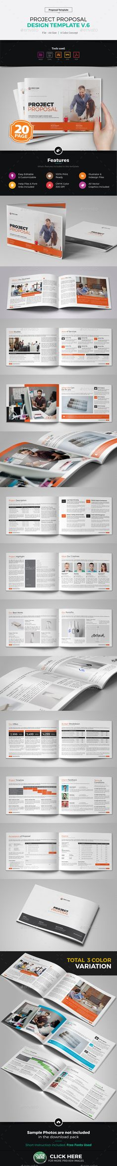 Project Proposal Brochure Template Vector EPS, InDesign INDD, AI Illustrator
