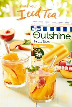 Try this quick and easy party snack hack idea that also makes for a refreshing summer drink. Our Outshine Peach Fruit Bars are made with real peaches, making them ideal to dip into a glass of fresh peach iced tea. The taste of summer, right in a glass.