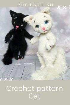 Crochet Hedgehog, Crochet Cats, Knitted Cat, Crochet Doll Pattern, Crochet Patterns Amigurumi, Amigurumi Toys, Stuffed Toys Patterns, Doll Patterns, Bjd