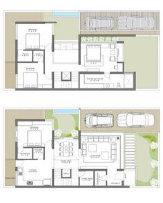 Modern Villas Maulik Vyas Architecture is part of Duplex house plans - House Floor Design, Duplex House Design, Villa Plan, Small Modern House Plans, Tiny House Plans, Duplex Floor Plans, House Floor Plans, Courtyard House Plans, Facade House