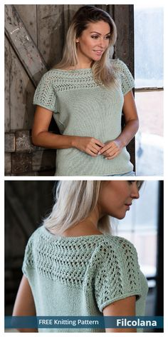 Mar 2020 - Knit Women T-Shirt Top Free Knitting Patterns: Lace T-shirt Sweater, Short Sleeve Women Spring/Summer Top Tee Shirt Dentelle, Free Knitting Patterns For Women, Free Cardigan Knitting Patterns, Knit Shirt, Sweater Shirt, Lace Knitting, Knitting Sweaters, Cardigan Sweaters, Lace Cardigan