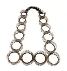 Heejin Hwang Necklace: Sensation series 2012 Steel wire, gold leaf 28 X 36 X 5 cm
