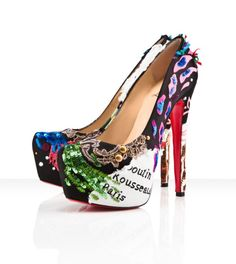 Fancy - Christian Louboutin - daffodile brodee, satin, multicolor, black, platforms, pumps, womens shoes