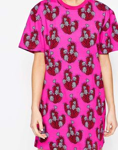 Image 3 ofHouse of Holland Cactus Print T-Shirt Dress