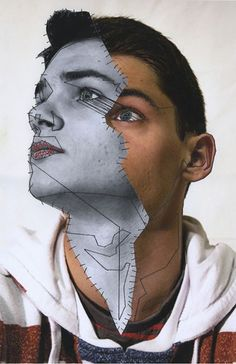 """Embroidered Metropolis – Manny Robertson {abstract surrealism male face collage portrait} Source by myanatomy Arte Gcse, Gcse Art, Photomontage, Mode Collage, Collage Collage, Surreal Collage, Collage Art Mixed Media, Black And White Face, Art Brut"