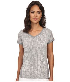 Calvin Klein Jeans Calvin Klein Jeans  VNeck Roll Up Sleeve Printed Top Urban Womens Short Sleeve Knit for 22.99 at Im in!
